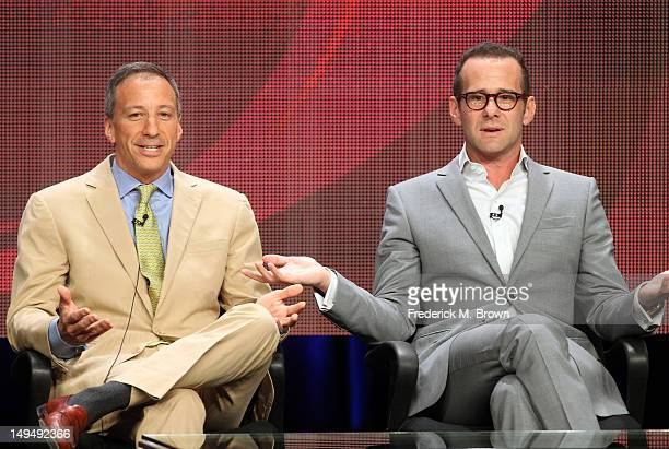 Writers/executive producers Max Mutchnick and David Kohan speak at the 'Partners' discussion panel during the CBS portion of the 2012 Summer...