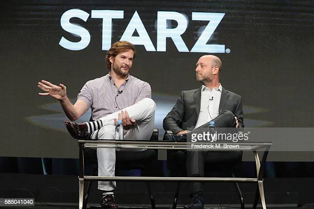 Writer/showrunner/executive producer Bryan Fuller and Writer/showrunner/executive producer Michael Green speak onstage during the 'American Gods'...