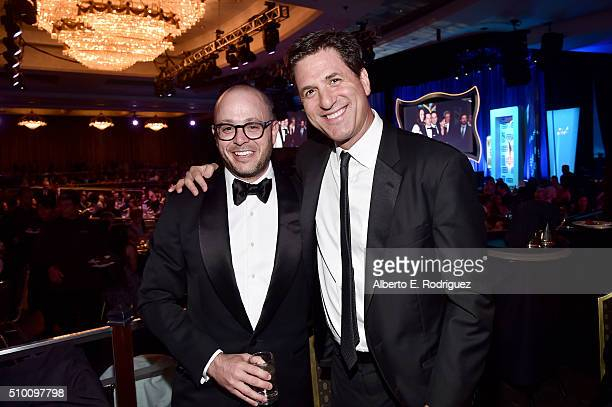 Writers/producers Damon Lindelof and Steven Levitan attend the 2016 Writers Guild Awards at the Hyatt Regency Century Plaza on February 13 2016 in...