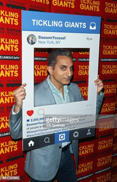 Writer/TV host Bassem Youssef attends the 'Tickling Giants' New York premiere at IFC Center on March 16 2017 in New York City