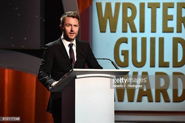 Writer/TV personality Chris Hardwick speaks onstage during the 2016 Writers Guild Awards at the Hyatt Regency Century Plaza on February 13 2016 in...