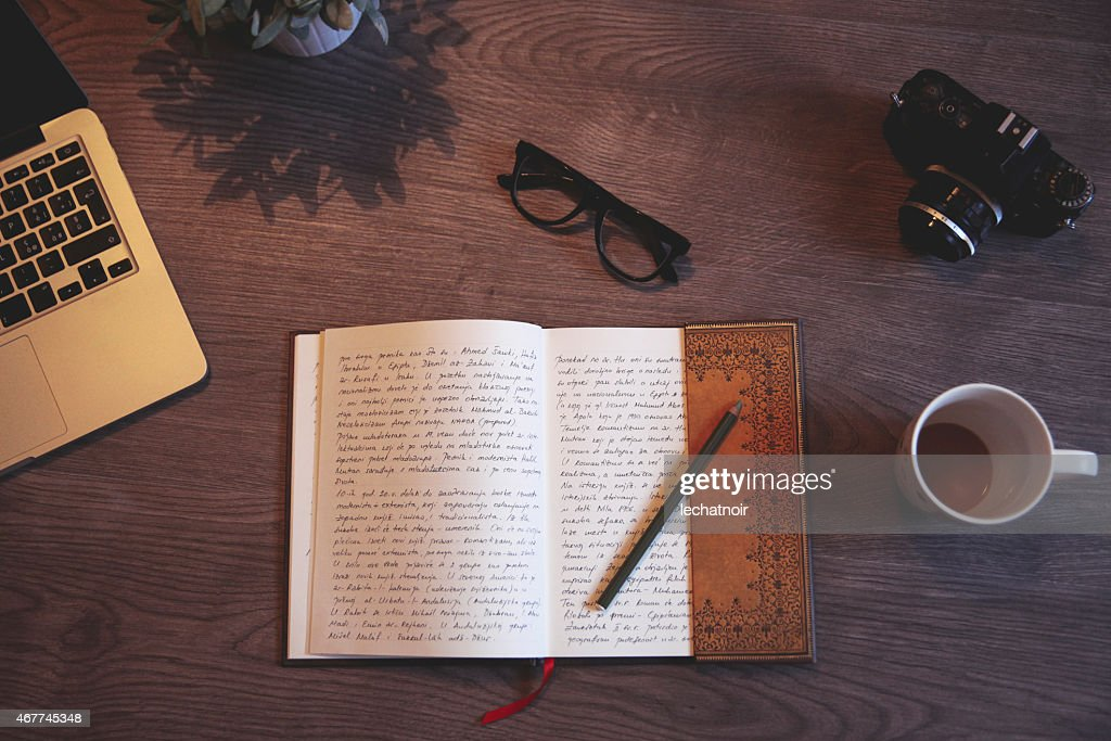 Writing a diary : Stock Photo