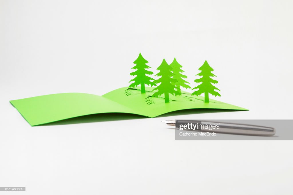 Writing A Homemade  Pop-Up Christmas Tree Card : Stock Photo