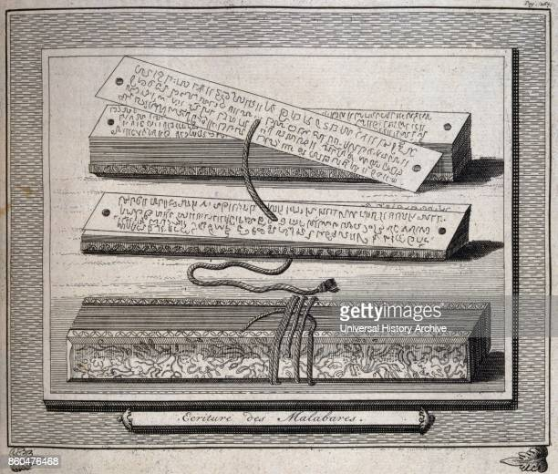Writing and writing case from Dutch Malabar a former Dutch colony in India Illustration from voyages made to Persia and India 1727 by Johan Albrecht...