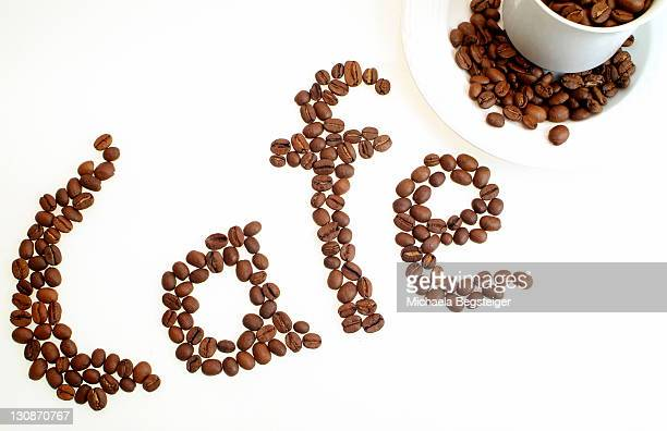 Writing CAFE with coffee beans