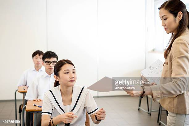 Writing Chinese Test at Hong Kong School, Asia