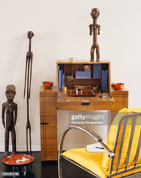 Writing Desk with Wooden Statuary