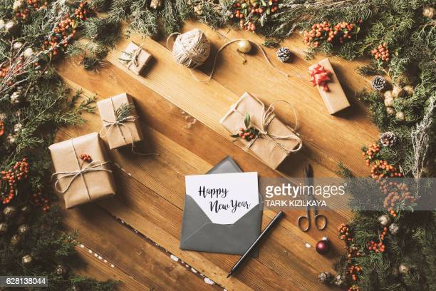 Writing greeting cards, Happy New Year table top flat lay