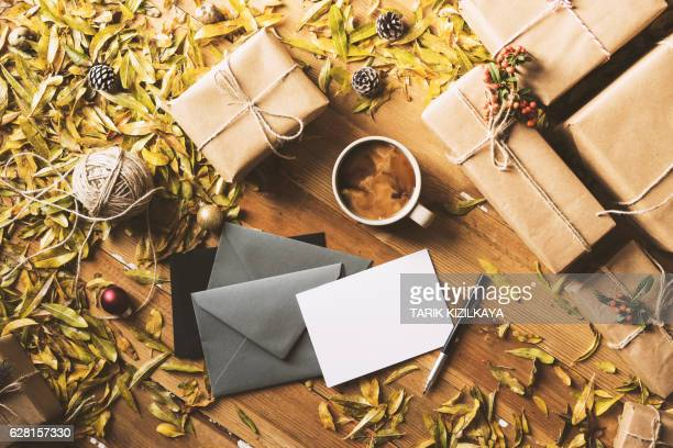 Writing greeting cards, New Year Christmas table top flat lay