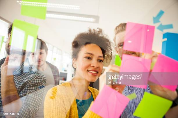 writing ideas on sticky notes - brainstorming stock pictures, royalty-free photos & images