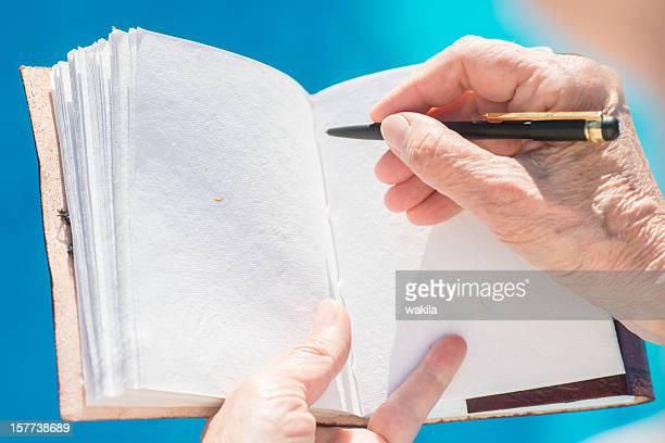 Escrevendo no vazio leatherbook diário ou livro de convidados na piscina