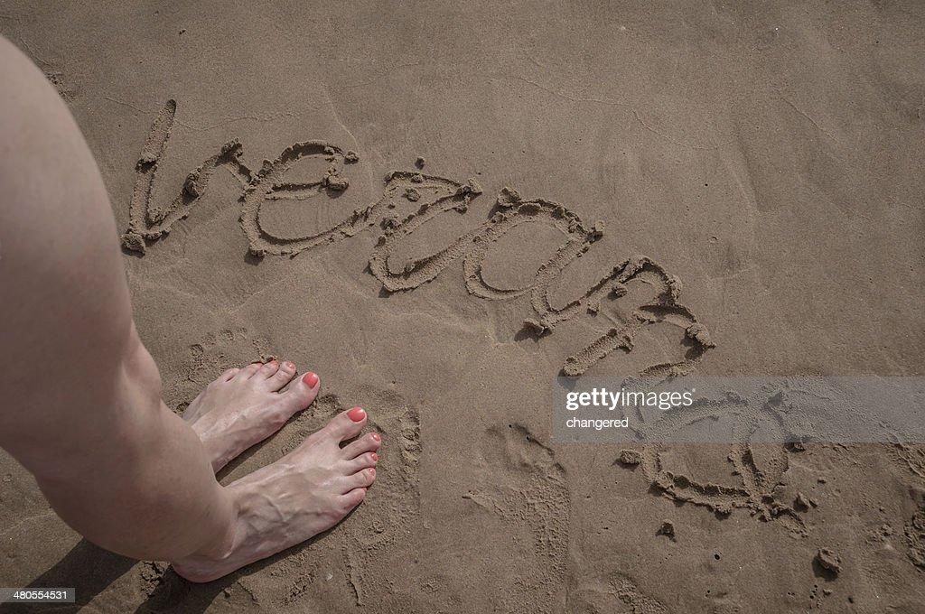 Escrito na Areia : Foto de stock