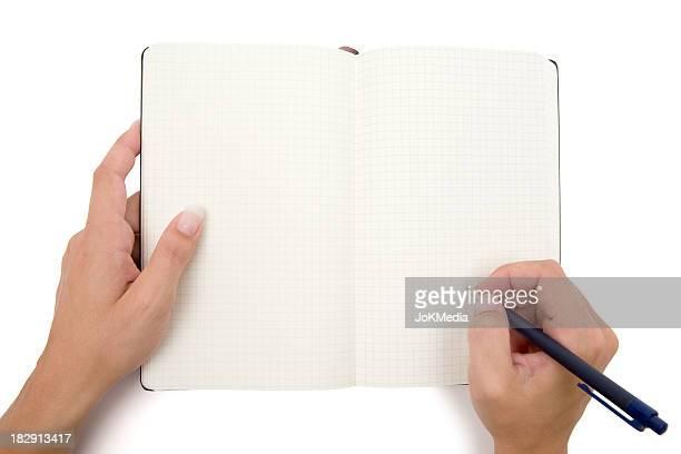Schreiben in Notebook-Karomuster