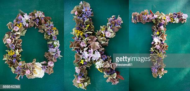 Writing made of flowers