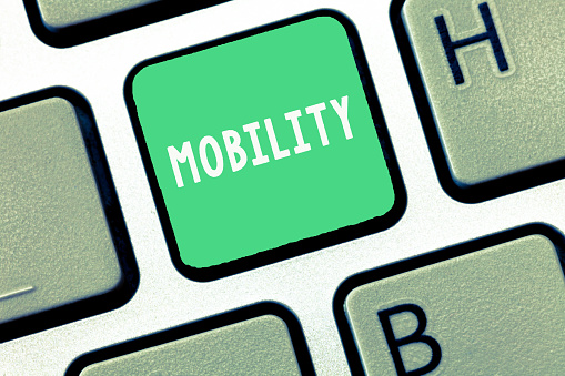Writing note showing Mobility. Business photo showcasing ability to move or be moved freely easily adaptability flexibility 1056061444