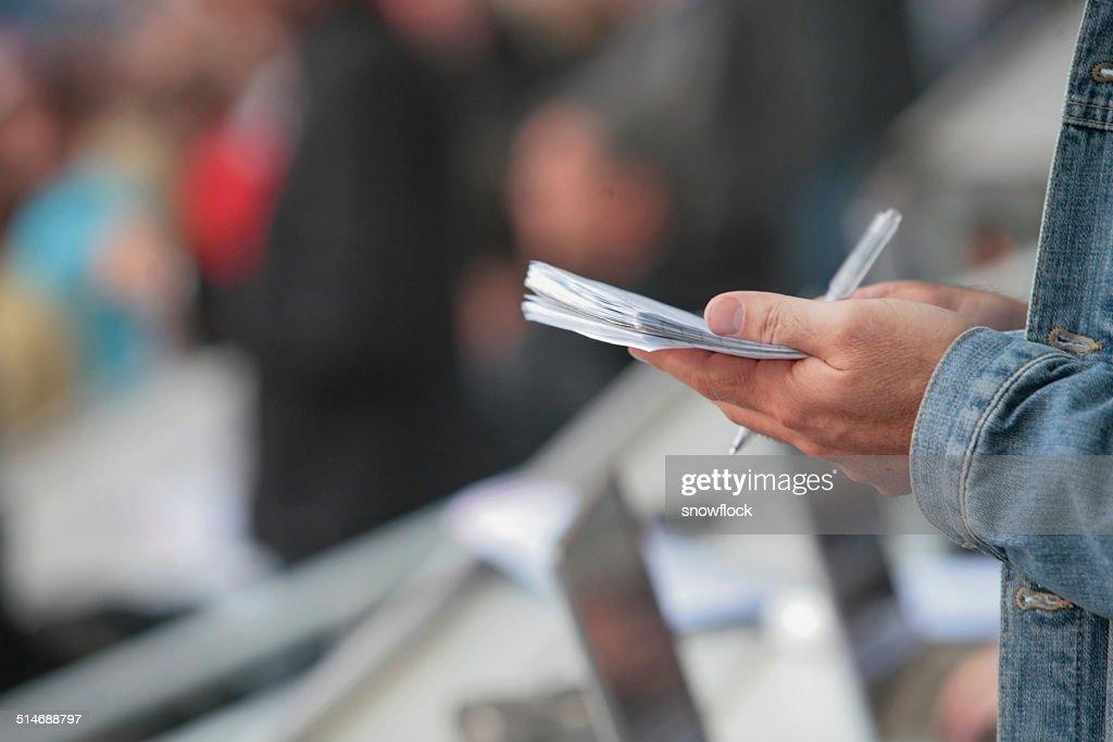 writing notebook reporter : Stock Photo