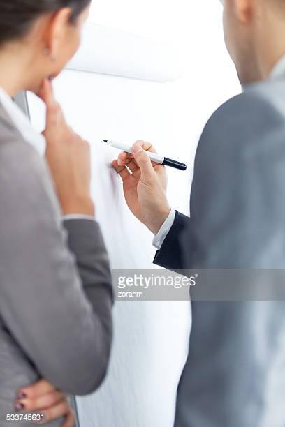 Schreiben auf dem flipchart