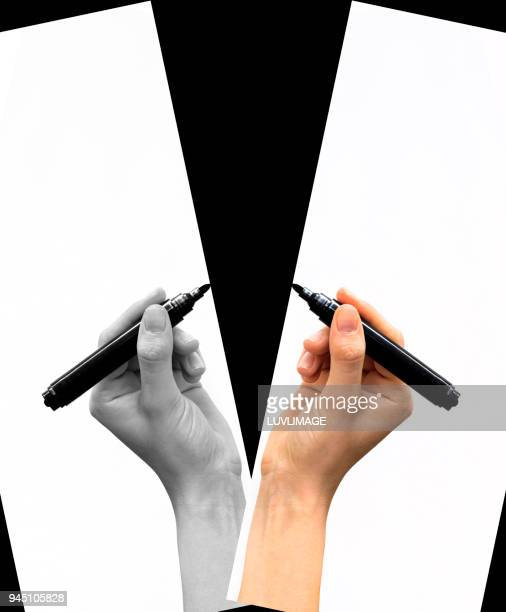 Writing Or Drawing In Black And White And Colour.