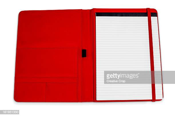 Writing pad in red leather folder