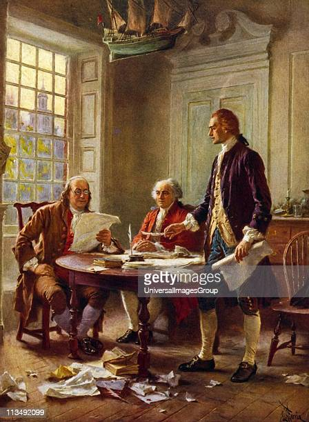 Writing the Declaration of Independence 1776' Benjamin Franklin left John Adams meeting at Thomas Jefferson's standing lodgings in Philadelphia to...