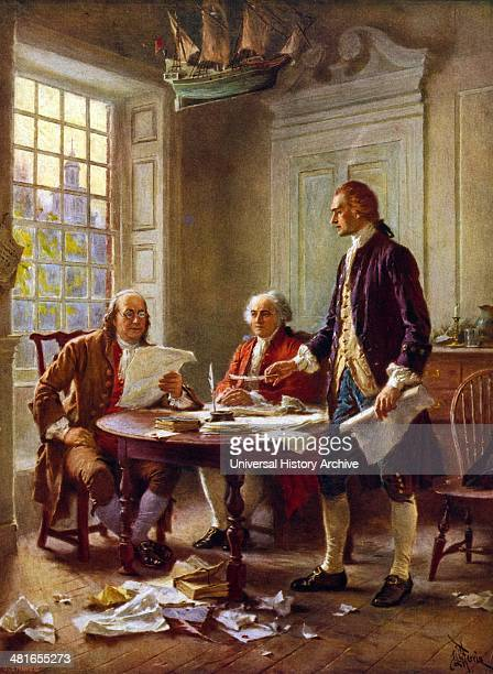 Writing the Declaration of Independence 1776 by jean Leon Gerome Ferris 18631930 artist 1932 photomechanical print halftone colour showing Thomas...