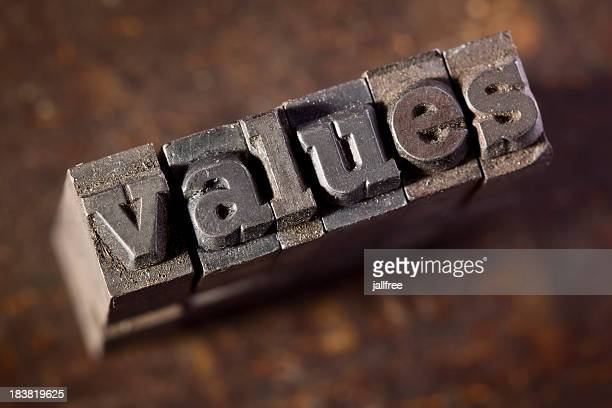 values written in old metal letterpress - morality stock pictures, royalty-free photos & images