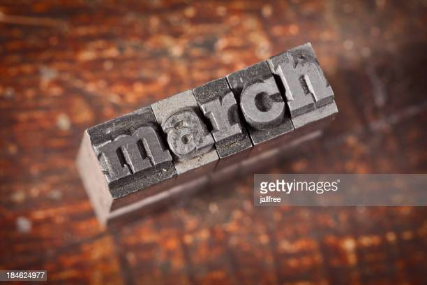 MARCH Written In Old Metal Letterpress Type