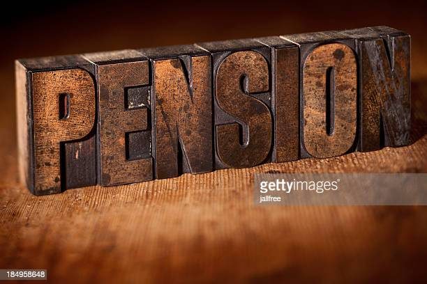 PENSION written in old wooden letterpress