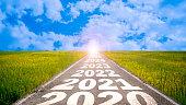 2020-2025 written on highway