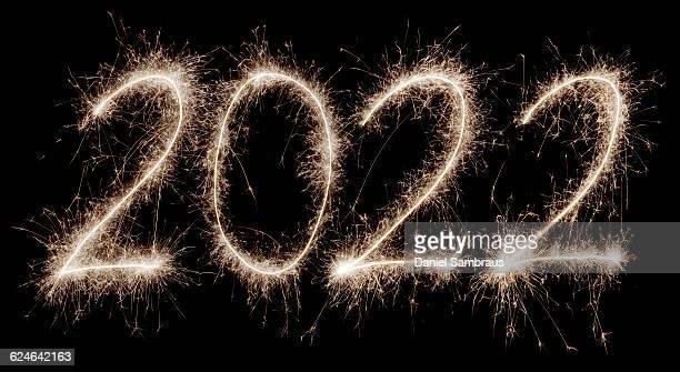 2022 written with a sparkler - daniel funke stock-fotos und bilder
