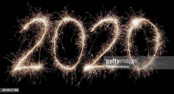 2020 written with a sparkler - daniel funke stock-fotos und bilder