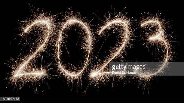 2023 written with a sparkler - daniel funke stock-fotos und bilder