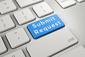 Written word Submit Request on blue keyboard button. Online Submission Concept