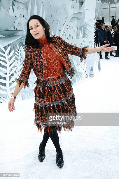Writter Amanda Harlech attends the Chanel show as part of Paris Fashion Week Haute Couture Spring/Summer 2015 on January 27 2015 in Paris France