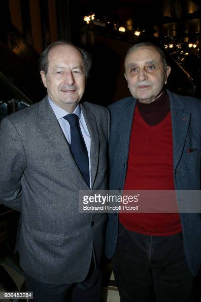 Writters JeanMarie Rouart and Jean Chalon attend the 83rd Prix Cazes de la Brasserie Lipp Literary Prize at Brasserie Lipp on March 22 2018 in Paris...