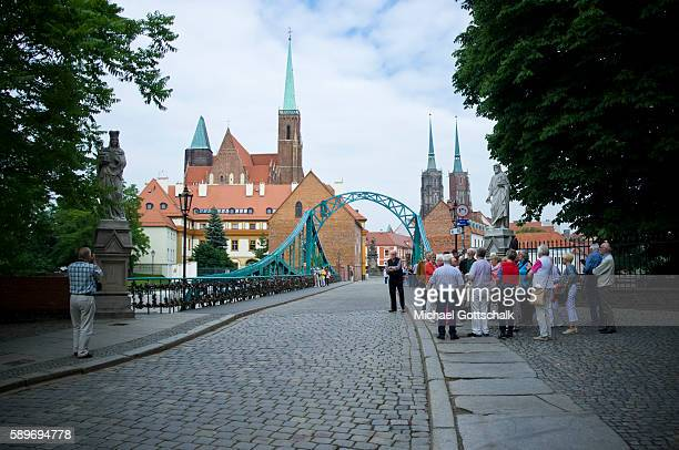 Wroclaw Cathedral or Archikatedra sw Jana Chrzciciela on Kathedral island seen behind cathedral bridge in the old town on June 12 2016 in Wroclaw...