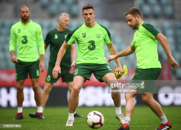 Wroclaw Poland 10 September 2018 Ciaran Clark centre with David Meyler left and Alan Judge right during a Republic of Ireland training session at...