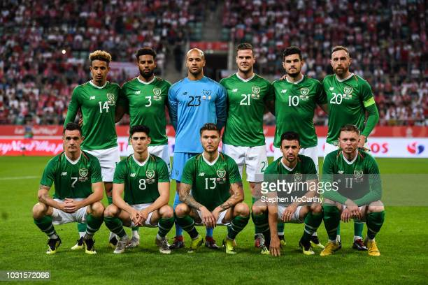 Wroclaw Poland 11 September 2018 The Republic of Ireland team back row from left to right Callum Robinson Cyrus Christie Darren Randolph Kevin Long...