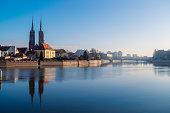 wroclaw skyline with st john church