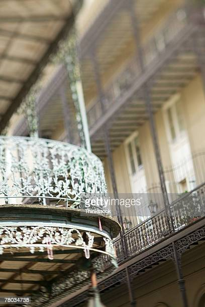 wrought iron balcony railing, french quarter, new orleans, louisiana - french quarter stock photos and pictures
