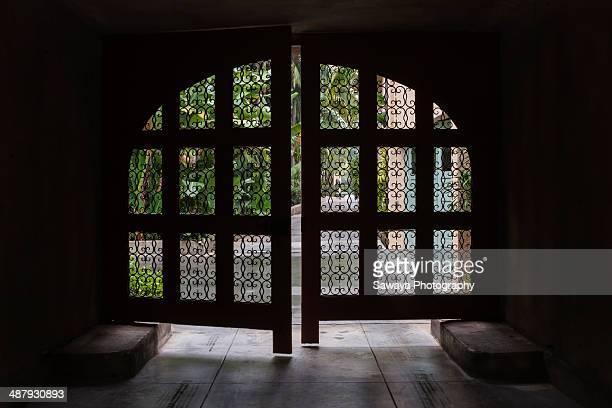 A wrought iron garage door