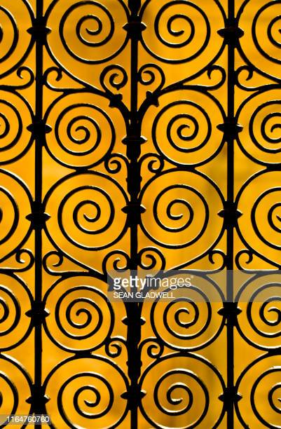 wrought iron gate - art deco stock pictures, royalty-free photos & images