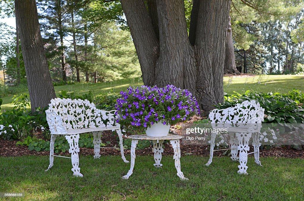 Wrought iron seating : Stock Photo