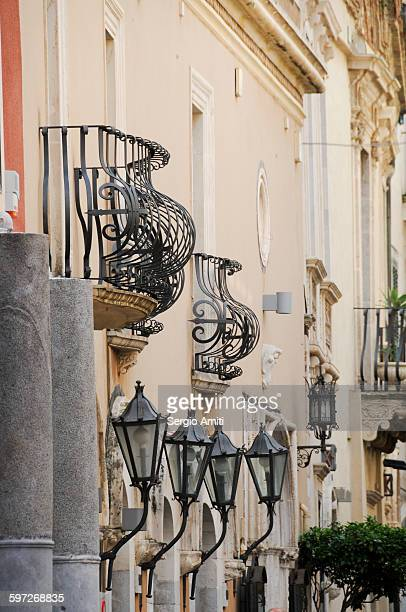 Wrought-iron balconies in Taormina