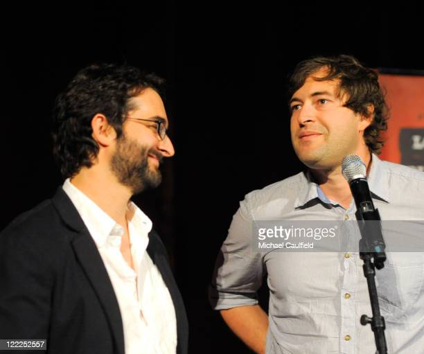 """Wrtier/directors Jay Duplass and Mark Duplass speak during the """"Cyrus"""" gala screening during the 2010 Los Angeles Film Festival held at Regal Cinemas..."""