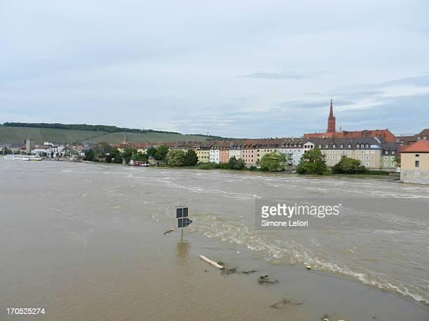 Würzburg, Bayern, Germany - 02 June 2013 - River Main high water in Würzburg, Bayern, Germany