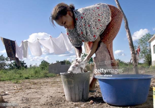 Wäsche wäscht eine Mosambikanerin am 832000 in der Siedlung Estaquina rund 1200 Kilometer nördlich der Hauptstadt Maputo Zwei Tage später hatten neue...