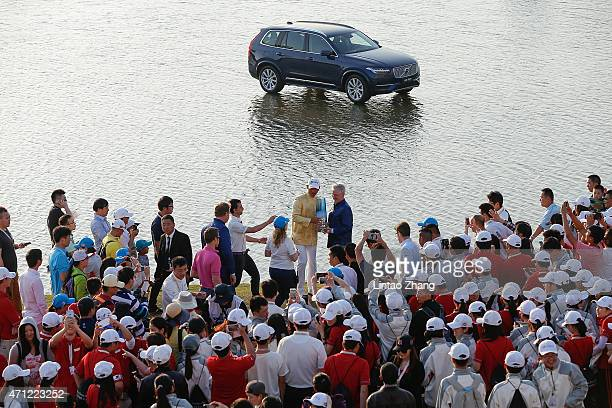 Wu Ashun of China celebrates after winning the Volvo China Open at Tomson Shanghai Pudong Golf Club on April 26 2015 in Shanghai China