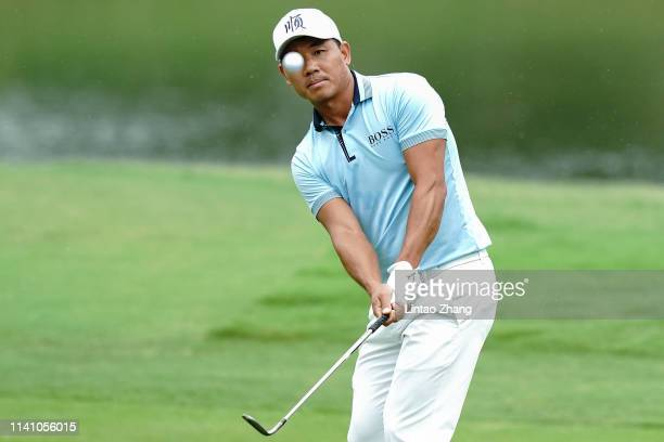 Wu Ashun of China plays a shot during day three of the 2019 Volvo China Open at Genzon Golf Club on May 4, 2019 in Shenzhen, China.