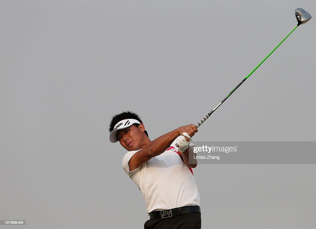 Wu Ashun of China plays a shot during the first day of the Volvo China Open at Binhai Lake Golf Course on May 2, 2013 in Tianjin, China.